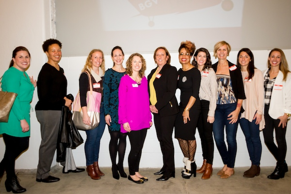 Bad Girl Ventures' new Launch class surrounds Program Manager Angela Ozar (in pink)