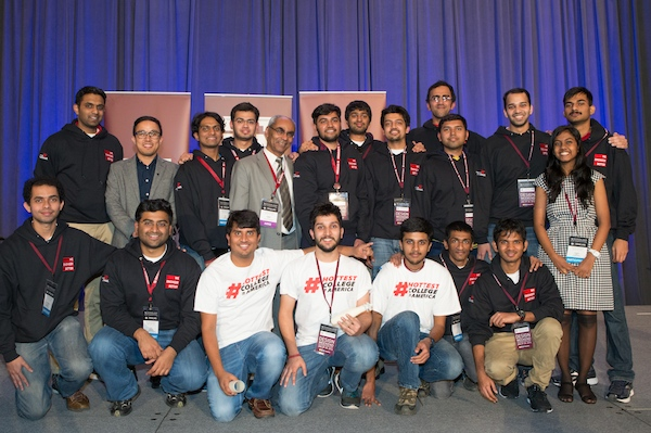 Hyperloop UC is one of 30 teams left in the worldwide competition; Shishir Shetty is third from left in the back row and Dhaval Shiyani is sixth from left, next to primary faculty adviser Dr. Shaaban Abdallah