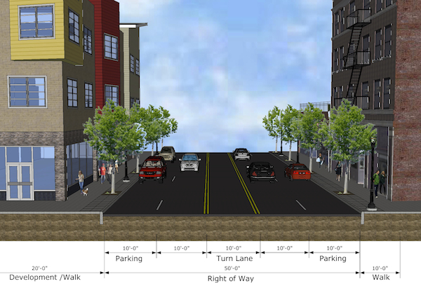 The city seems to prefer a 5-lane option for Liberty Street, returing 20 ft. of existing street to development
