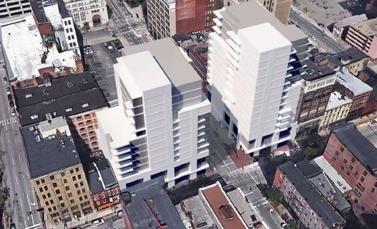 Rendering of the proposed condo project at Eighth and Main downtown