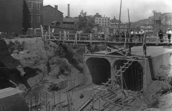 Downtown subway tunnels were built on the drained canal, then covered over to create Central Parkway