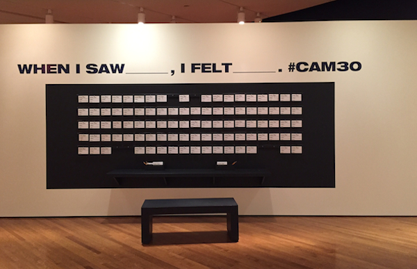 "The ""30 Americans"" exhibition has a feedback wall asking visitors to comment on specific pieces"