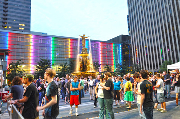 Russell says Fountain Square is prime for watching people � and prospective partners.