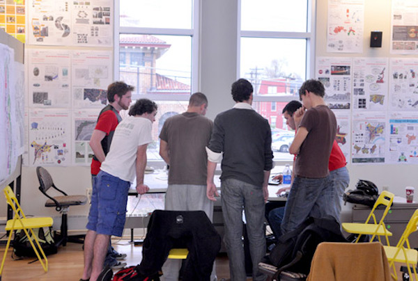 Students learn design concepts from Frank Russell, longtime director of UC's Niehoff Urban Studio.
