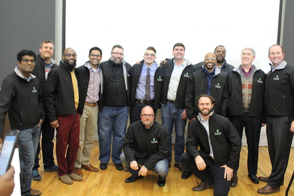 Founder Institute Cincinnati's nine graduates from its first cohort, along with director Michael Hiles.