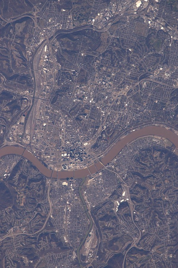 Astronaut Shane Kimbrough snapped a unique view of Great American Ball Park from space.