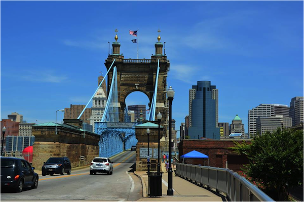 Open since 1867, the Roebling Bridge spans over 2,000 feet from shore to shore.