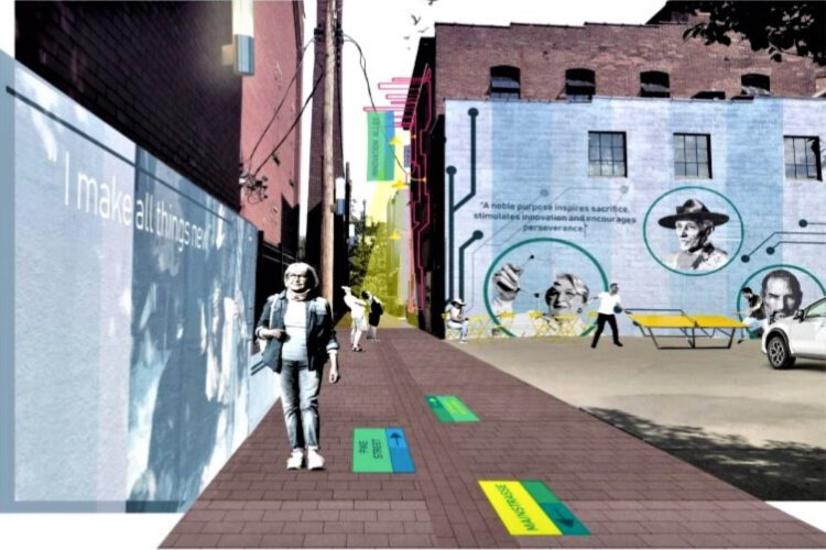 A rendering of proposed improvements to Innovation Alley includes art, murals, and wayfinding markers.