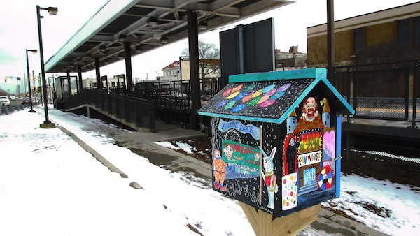 Patricia Arroyo's Little Free Library at the train station in Asbury Park, N.J.
