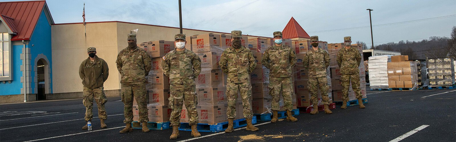Kentucky National Guard members helped with food distribution at Action Ministries in Latonia.