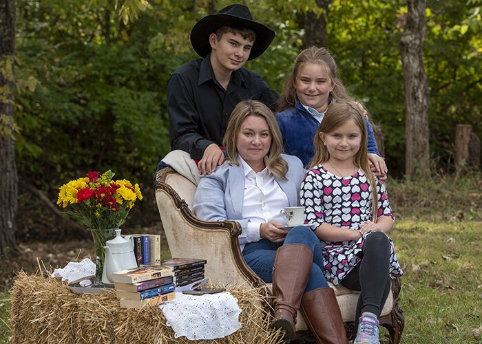 Heather Grothaus and her children Jackson, Lillian and Emmelia.
