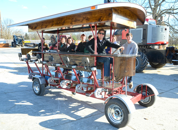 The pedal wagon in action