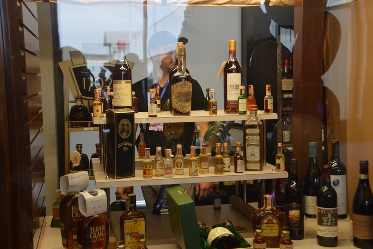 A display of antique bourbons available at the Cork 'N Bottle's CVG location.