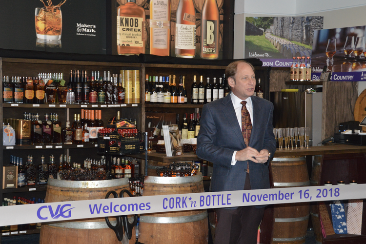 Cork 'N Bottle's Tom Neyer at the ribbon-cutting for the store's CVG location.